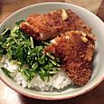 水菜とカツ丼