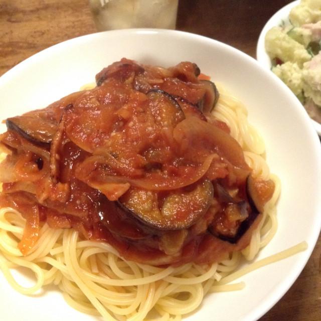 なすびとトマトのスパゲッティ