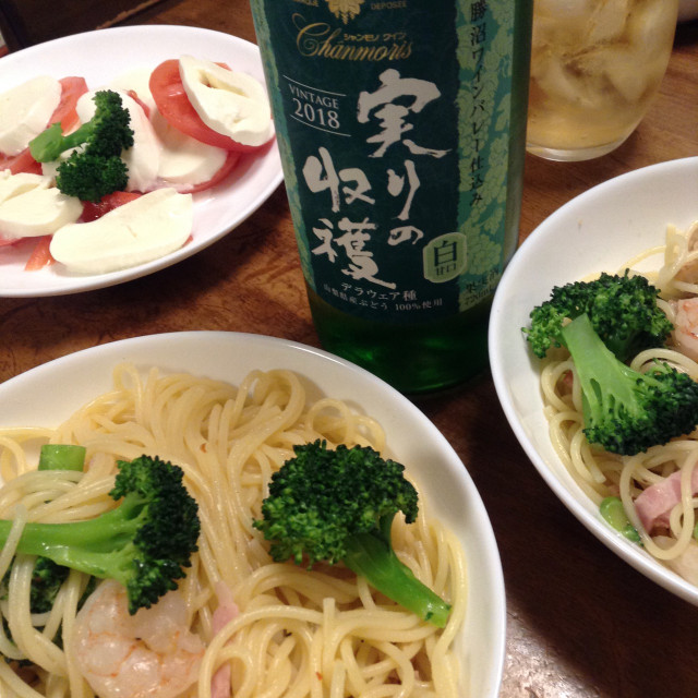 連休はワインとペペロンチーノ(具だくさん)