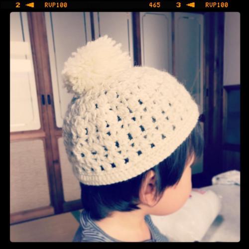 帽子が編みあがったという知らせ