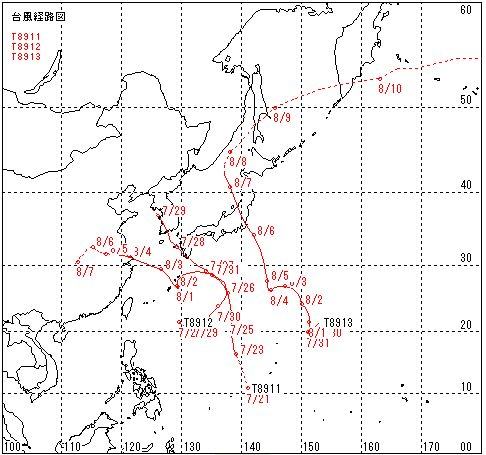 1989年に来た台風13号